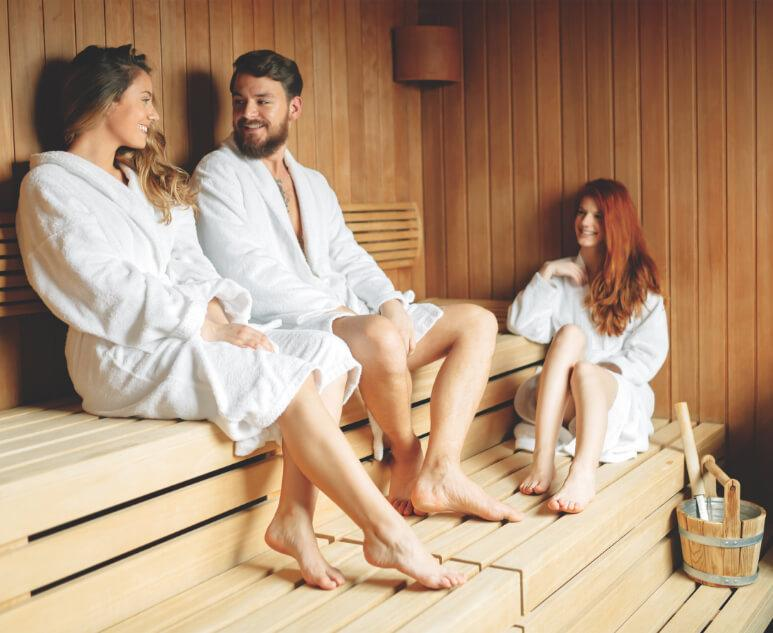 Group of three in a sauna